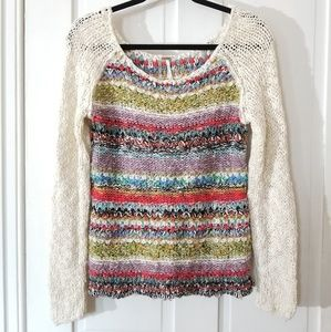 Free People Multicolor Yarn Scoop Neck Sweater